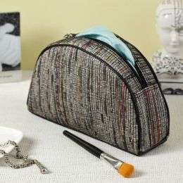 Recycled Loomed Newspaper Half Moon Accessory Case (9''x2.5''x5.5'')