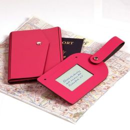 Fuchsia Passport Holder and Luggage Tag Set