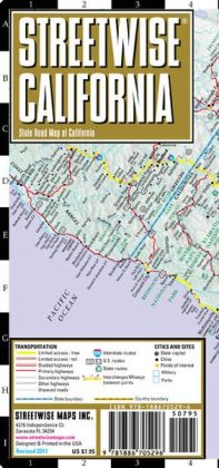 Streetwise California Map - Laminated State Road Map of California - Folding Pocket Size Travel Map (2013)