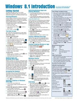 Windows 8.1 Introduction Quick Reference Guide (Cheat Sheet of Instructions, Tips & Shortcuts - Laminated Guide)