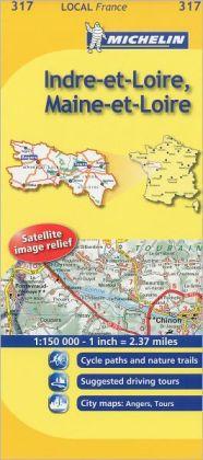 Michelin Map France: Indre-et-Loire, Maine-et-Loire 317