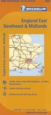 Michelin Map Great Britain: England, Southeast, Midlands and East Anglia Map 504