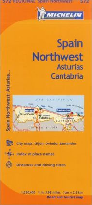 Michelin Spain: Northwest, Asturias, Cantabria Map 572