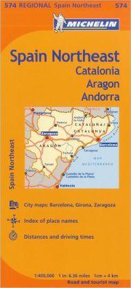 Michelin Spain: Northeast Catalunya, Aragon, Andorra, Map 574