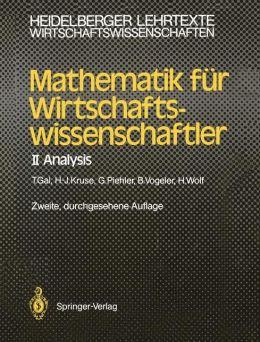 Mathematik fur Wirtschaftswissenschaftler: Analysis