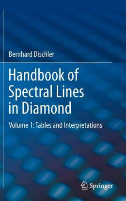 Handbook of Spectral Lines in Diamond: Volume 1: Tables and Interpretations