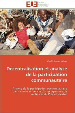D Centralisation Et Analyse De La Participation Communautaire
