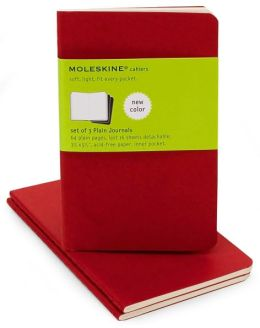Moleskine Cahier Red Pocket Plain Journal, Set of 3