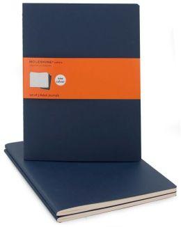 Moleskine Cahier Journal (Set of 3), Extra Large, Ruled, Indigo Blue, Soft Cover (7.5 x 10)