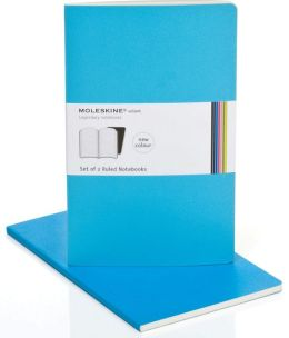 Moleskine Volant Large Ruled Notebook, Manganese/Cerulean Blue Set of 2