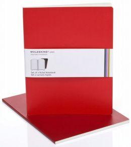 Moleskine Volant Extra Large Ruled Notebook, Scarlet/Bordeaux Red Set of 2