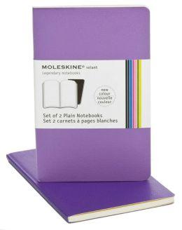 Moleskine Volant Pocket Plain Notebook, Violet Set of 2