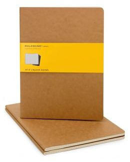 Moleskine Cahier Kraft Extra Large Squared Journal, Set of 3