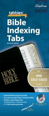 Bible Tab: Mini Clear Tab W/Gold Center Strip & Black Lettering