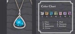 Beverly Clark 56-2253/AQU Silver Aquamarine Stone Earrings With Rhinestone Edge Large Drop Pendant