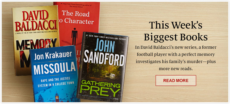 This Week's Biggest Books. In David Baldacci's new series, a former football player with a perfect memory investigates his family's murder - plus more new reads. READ MORE
