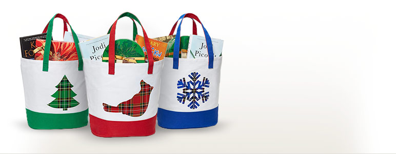 Green Tree Canvas Tote; Red Cardinal Canvas Tote; Blue Snowflake Canvas Tote
