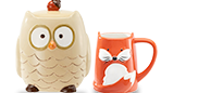 Owl Cookie Jar; Fox Mug in Gift Box