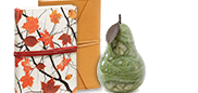 Foglie d'Autunno Off-White Italian Leather Journal with Red Tie; Autumn Green Pear Italian Alabaster Bookend