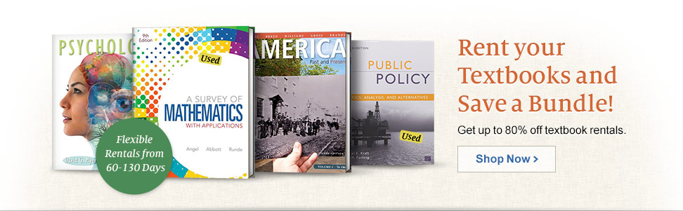 Rent you Textbooks and Save a Bundle! Get up to 80% off textbook rentals.