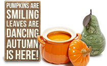 Autumn is Here Brown Box Sign; Orange Mini Pumpkin Tureen with Lid; Autumn Green Pear Italian Alabaster Bookend