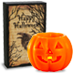 Raven ''Happy Halloween'' Box Sign; Orange Pumpkin Flameless Candle