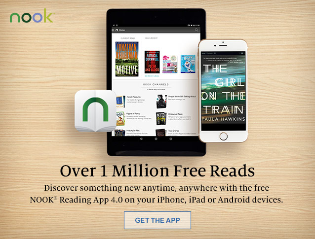 Over 1 Million Free Reads. Discover something new anytime, anywhere with the free NOOK Reading App 4.0 on your iPhone, iPad or Android devices. GET THE APP