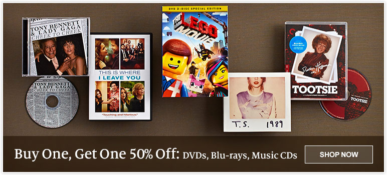 Buy One, Get One 50% Off - DVDs, Blu-rays, Music CDs