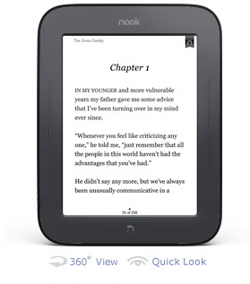 NOOK Reading screen