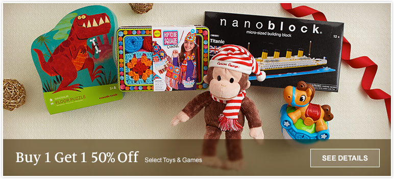 Buy 1 Get 1 50% Off Select Toys & Games