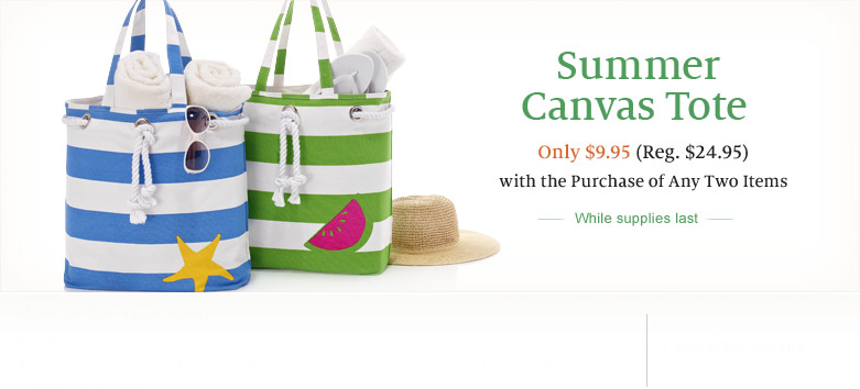 Spring Canvas Totes - Your Choice Only $9.95 ($24.95 Value) With the Purchase of Any Two Items